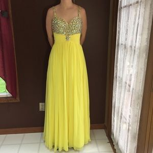 Stunning Bright Yellow Bejeweled Gown